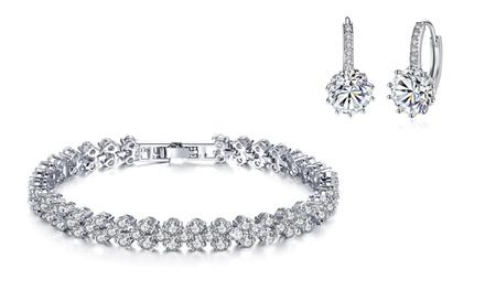 Set braccialetto e orecchini placcati in oro bianco