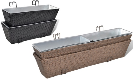 Set fioriere da balcone vida xl in rattan disponibili in 2 for Set da balcone