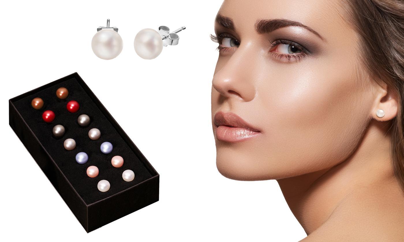 Seven Pairs of Freshwater Pearl Earrings