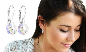 (Bijou)  Boucles d'oreilles ornés de cristaux Swarovski® en argent 925  -81% réduction