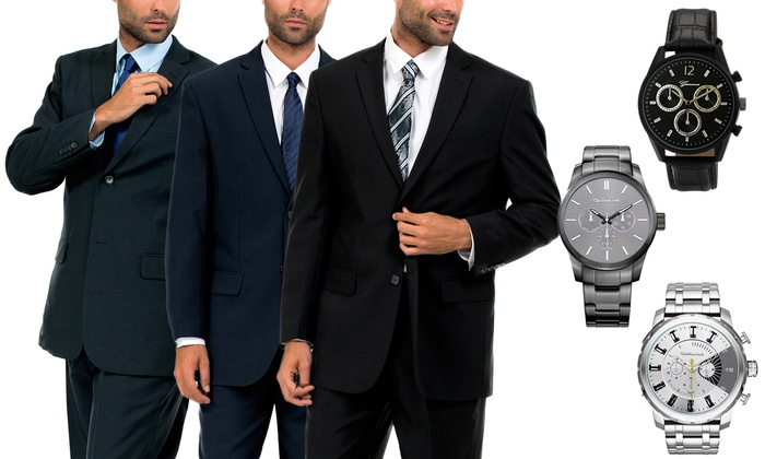 Men's Two-Button Suit with Free Watch