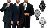 Mens 2-Button Suit with Watch (Navy, Black, or Charcoal)