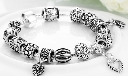 18K Gold-Plated Designer-Inspired Charms Bracelet with Heart Charms