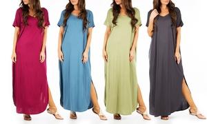Women's Short-Sleeve Maxi Dress with Pockets