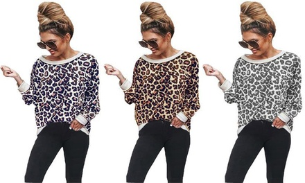 Womens Leopard Print Sweater