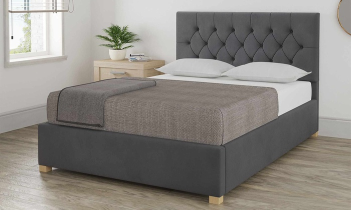 Holmfirth Plush Velvet Ottoman Bed with Optional Bonnell or Pocket Mattresses