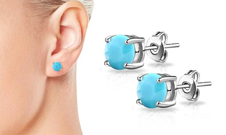 One or Two Pairs of Philip Jones Turquoise Earrings with Crystals from Swarovski®