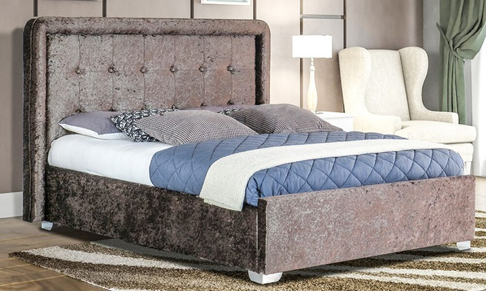 Crushed Velvet Contero or Louvre Bed Frame with Optional Kerri Mattress from £118