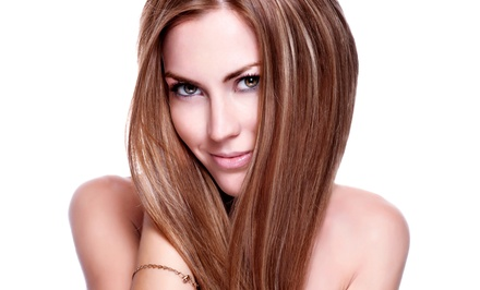 Haircut, Style, and Blow-Dry with Optional Partial or Full Highlights at Lush New York Salon (Up to 57% Off)