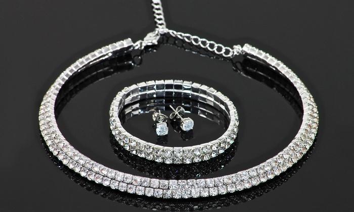 top design tecnologie sofisticate meticolosi processi di tintura 1 o 2 parure con cristalli di Swarovski® composta da collana, orecchini e  bracciale