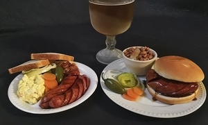 Augie's Barbed Wire Smokehouse and Augie's Alamo City BBQ Steakhouse: Sausage Plates or Sandwiches for Two with Sides and Trimmings (Up to 61% Off)