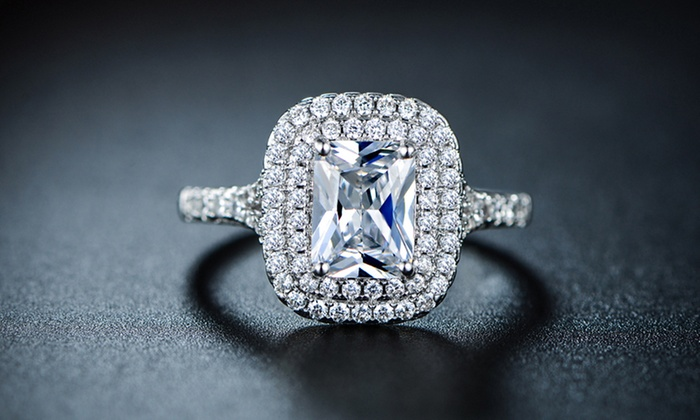 Cubic Zirconia Engagement Ring Groupon Goods