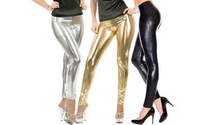 Women's Metallic Liquid Shine Fashion Leggings
