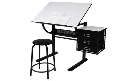 Tavolo da disegno con cassettiera e sgabello a 79 95 - Tavolo luminoso per disegno ...