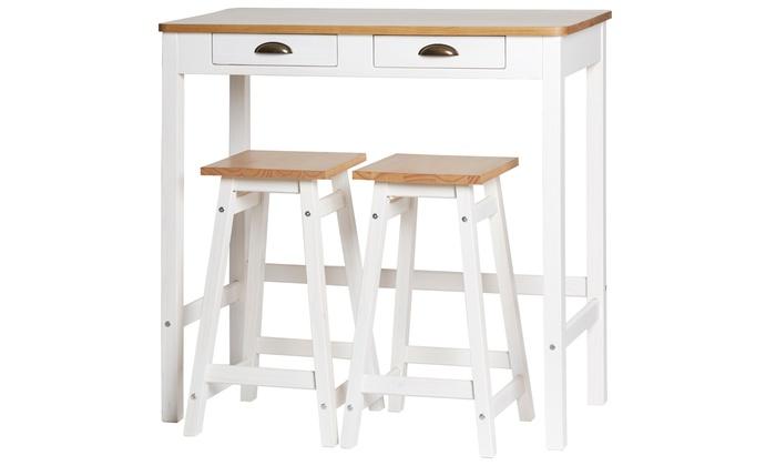 Set mesa alta 2 taburetes olga groupon goods - Mesa alta con taburetes ...