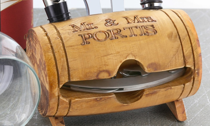 Monogram Online: $24.99 for a Personalized Barrel Four-Piece Wine-Tool Set from Monogram Online ($44.99 Value)