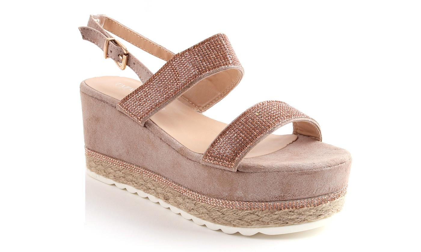Platform Espadrille Wedge Sling-Back Sandals