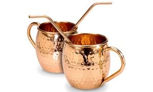 16oz. Moscow Mule Mugs Set with Bent Straws and Cleaning Brush