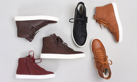 Womens Leather High Top Trainers with Merino Wool Lining in Choice of Colours