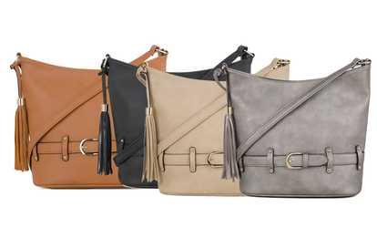 84d683bbb352 Shop Groupon MKII Nolita Women s Crossbody Hobo Bucket Handbag with Tassel