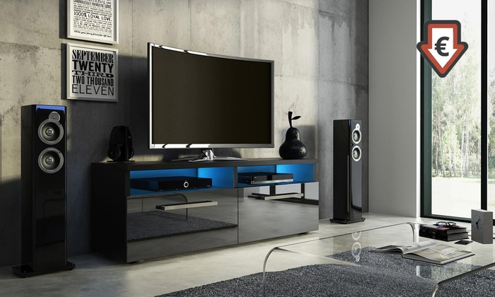 jusqu 39 58 meuble tv avec led groupon. Black Bedroom Furniture Sets. Home Design Ideas