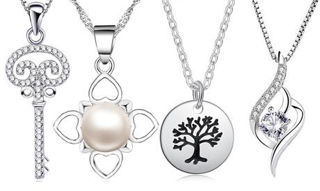 Collares de plata con colgante y cristales Van Amstel
