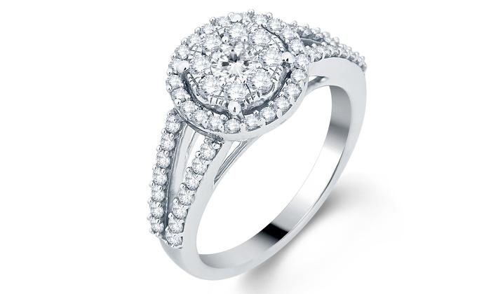 1.00 CTTW Split Shank Diamond Engagement Ring in Solid 10K White Gold:  1.00 CTTW H, I2-I3 Split Shank Diamond Engagement Ring in Solid 10K White Gold