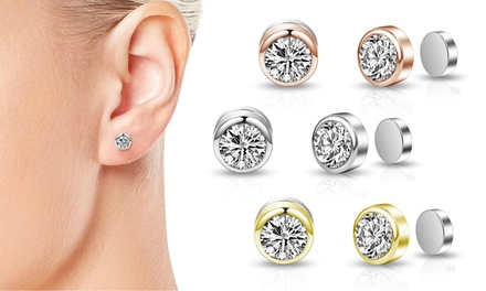 Philip Jones Clip On Magnetic Earrings With Crystals From Swarovski Groupon Uk