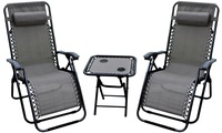 Groupon.com deals on Zero Gravity Chairs and Folding Table w/Cup Holder Set 3-Piece