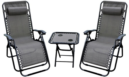 Zero Gravity Chairs and Folding Table with Cup Holder Set ( 3-Piece)