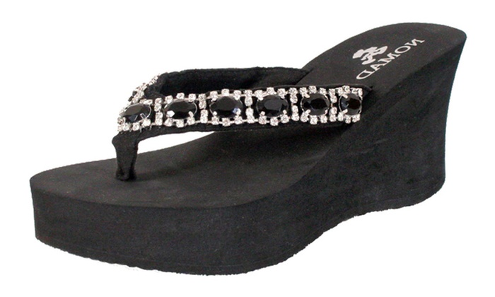 c70f14a6feb6 Nomad Footwear Women s Wedge Thong Sandals with Rhinestone Chain. Women s  Wedge Thong Sandals