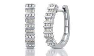 1/2 CTTW Diamond 2-Row Hoop Earrings in Sterling Silver By Decarat