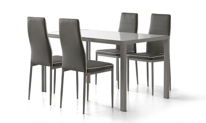 Set Tavolo E Sedie Bianco.Set Arcadia Composto Da 1 Tavolo E 4 Sedie Da Soggiorno Color Bianco