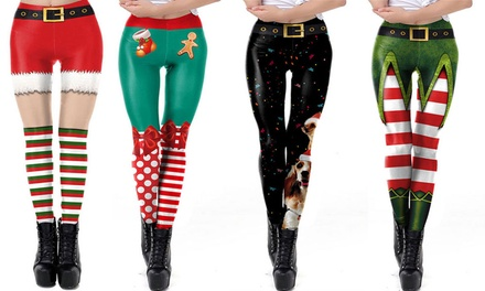Christmas-Themed 3D Printed Leggings: One Pair ($15) or Two Pairs ($25)