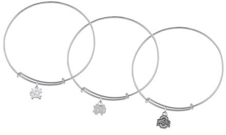 NCAA Adjustable Charm Bangle Bracelets in Sterling Silver