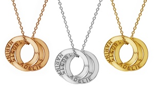 Jewell's House: One or Two Interlocking-Ring Sterling Silver Necklaces with Engravings from Jewellshouse (Up to 83% Off)