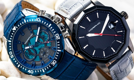 Reloj de cuero con banda de cuero para hombres Morphic M56 y M66