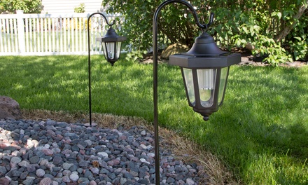 Pure garden solar led hanging coach lanterns 2 piece for Gardening 4 less groupon