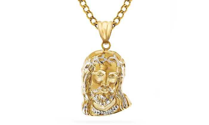 14k gold christ head pendant groupon aloadofball Choice Image