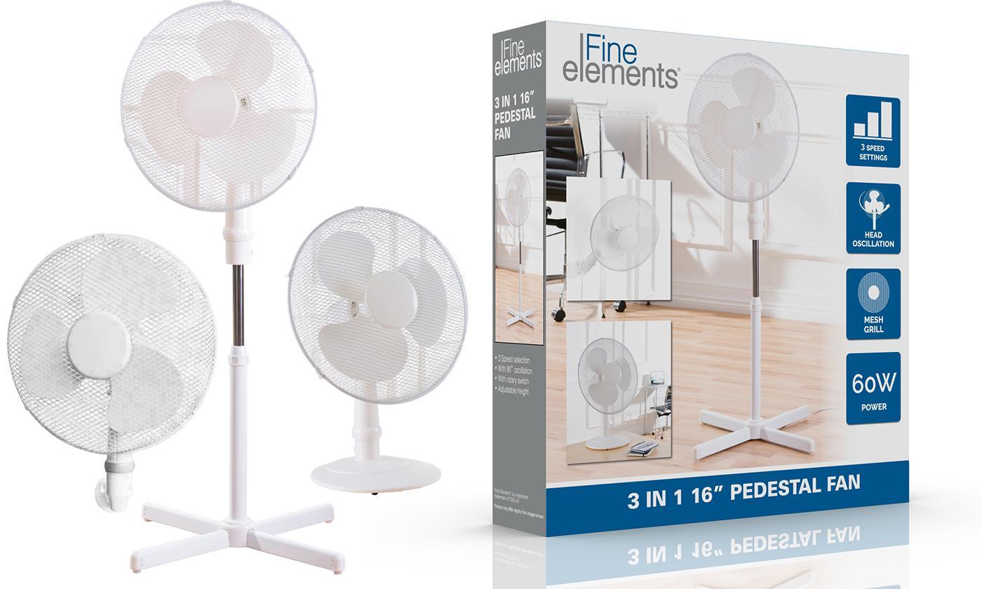 """Fine Elements 16"""" Pedestal, Desk or Wall-Mount Three-in-One Fan"""