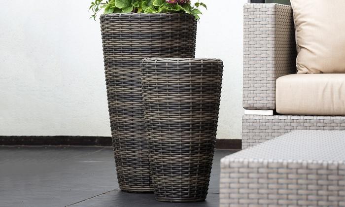 rattan effect planters groupon. Black Bedroom Furniture Sets. Home Design Ideas