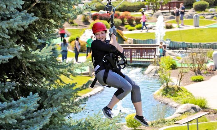 Wonderland Family Fun Center - Spokane: Zipline Ride for One or Two at Wonderland Family Fun Center (Up to 52% Off)