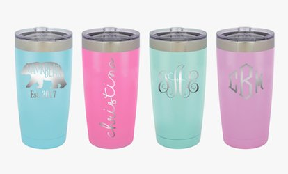 image for One or Set of Two Personalized Vacuum Insulated Colored Coffee Tumblers from Monogram Online (Up to 43% Off)