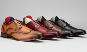 Vincent Cavallo Men's Wingtip Derby Dress Shoes plus Free Socks