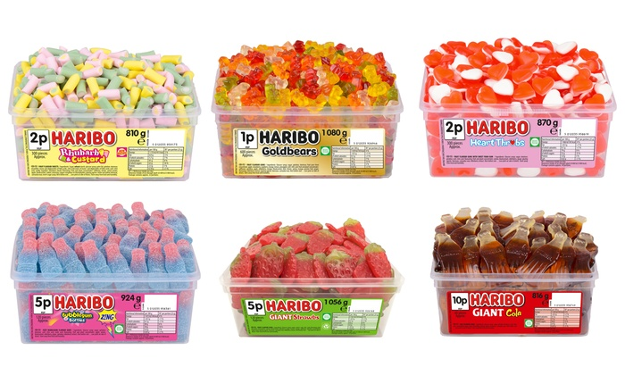 Up to Six Tubs of Haribo Sweets in a Variety of Flavours from £6