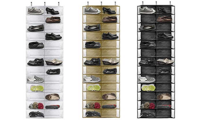 26-Pocket Over-the-Door Shoe Organizer: 26-Pocket Over-the-Door Shoe Organizer in Beige, Black, or White. Free Shipping and Returns.
