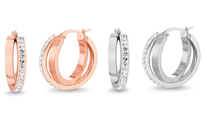 f31d1cf0b Lesa Michele Crystal Twist Hoop Earrings Made with Swarovski Elements