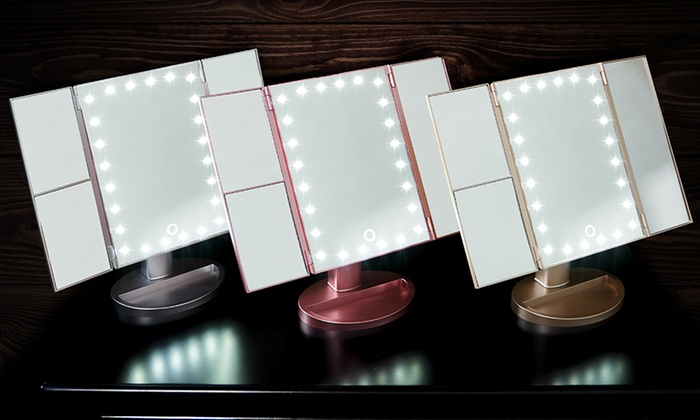 Miroir 3 Faces Avec Lumieres Led Groupon Shopping