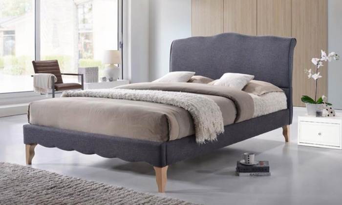 Up to 40 off on modern fabric platform bed groupon goods for Classic french beds