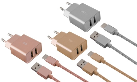 Cargador de viaje USB con opción a cable para tipo C o para micro USB